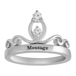 Crown Sterling Silver Ring With Cubic Zirconia Stones