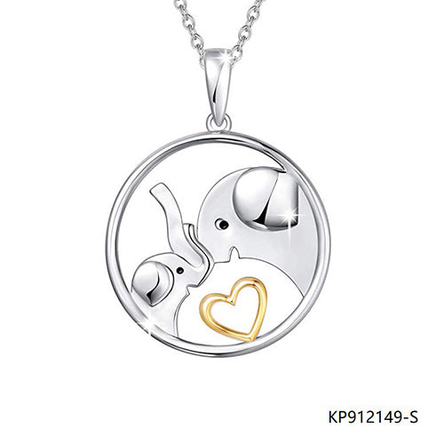 Two-Tone Elephant Mother Child and Heart Sterling Silver Necklace Pendant