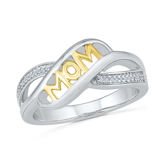 Two-Toned MOM Crossover Sterling Silver Ring with Cubic Zirconia