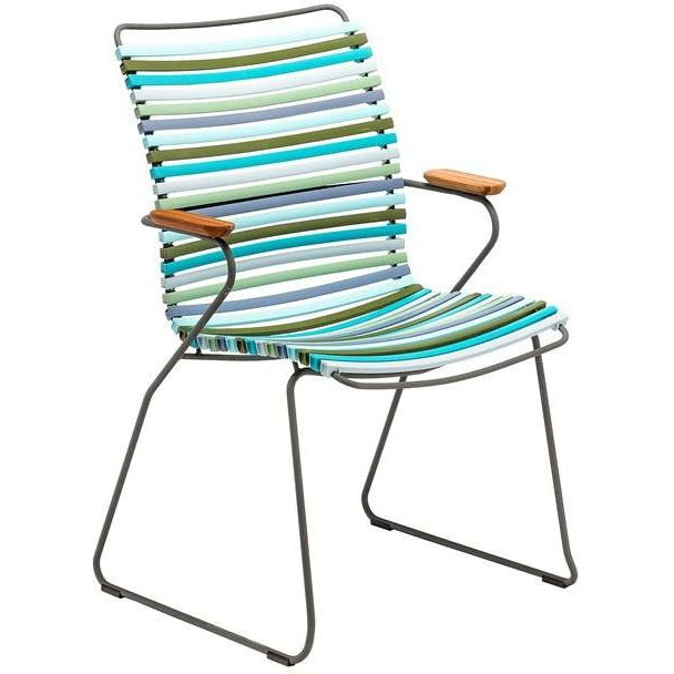 Click Dining Chair Tall with Armrest - Multicolour Blue