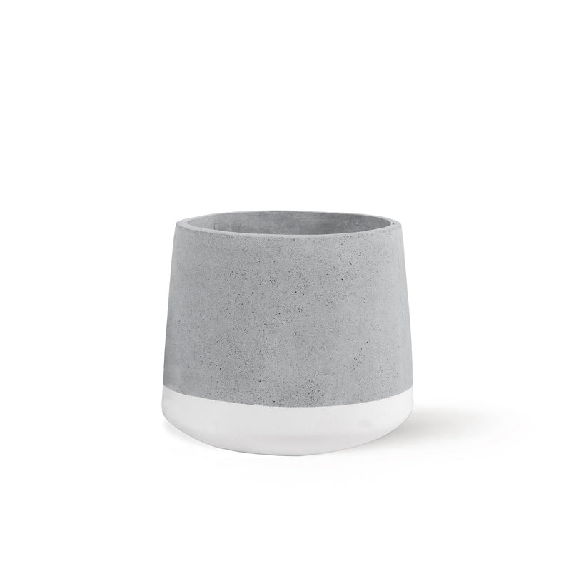 Concrete Planter Medium White Band