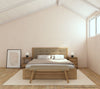 Circa Queen Bed with Fabric Headboard - European Oak