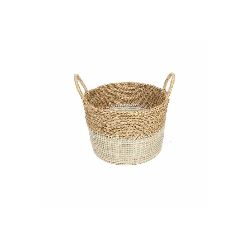 Basket 2Tone Natural White With Handles