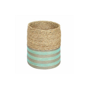 Basket Natural With Blue Stripes