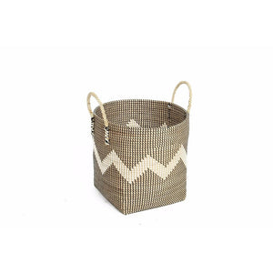 Basket Black Chevron Pattern With Handle