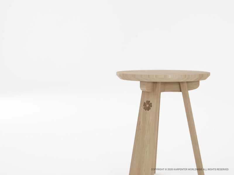 East round Stool European Oak