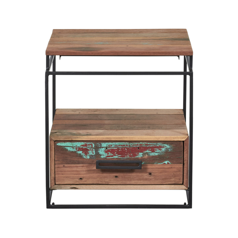 Nako 1 Drawer Bedside-Indoor Furniture-Kleo-Default-Reclaimed Boat Wood/Coated Iron-SLH AU