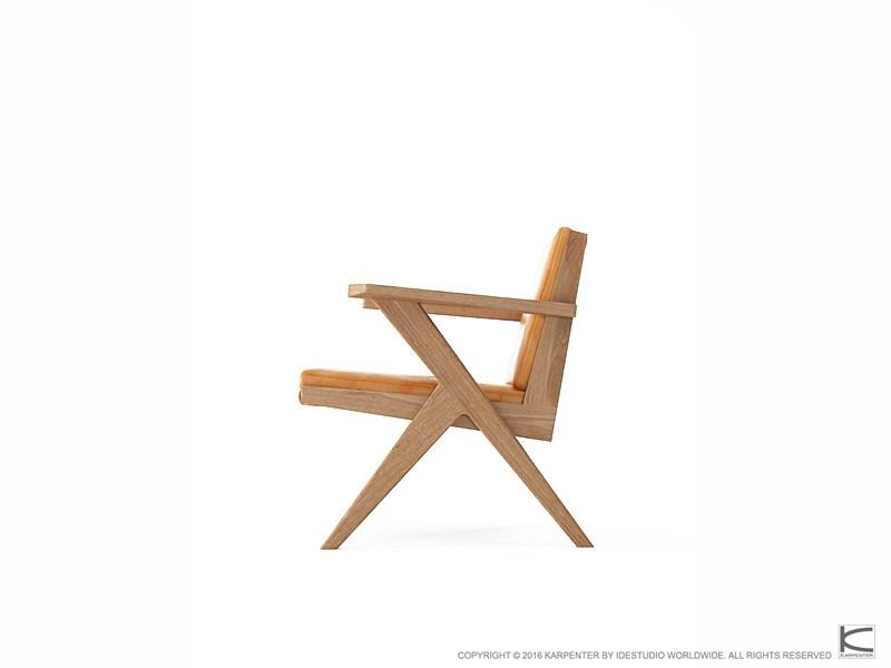 Tribute Easy Chair - FSC Recycled Teak with Tan Cognac Leather