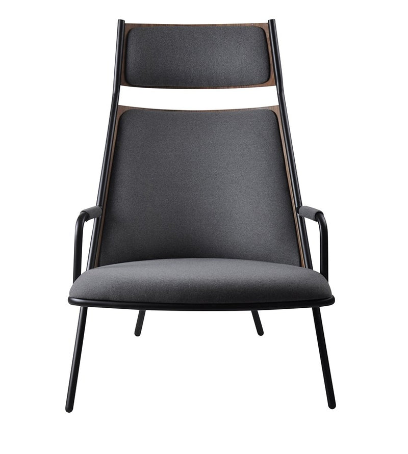 Zafra Lounge Highback Blk|Walnut|Telegrey-Indoor Furniture-Marmo-Black Metal,Walnut Backrest,Telegrey Seat-Steel Frame/Plywood Back/Upholstered Seat-SLH AU