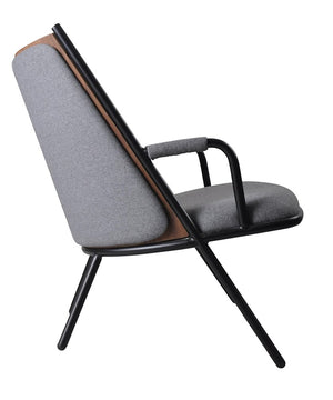 Zafra Lounge Chair Low Back Black|Grey-Indoor Furniture-Marmo-Matte Black Frame,Walnut Back,Telegrey Upholstery-Steel Frame/Plywood Back/Upholstered Seat-SLH AU