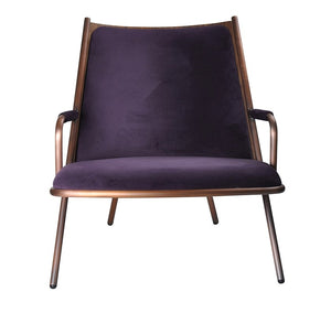 Zafra Lounge Low Back Copper|Walnut-Indoor Furniture-Marmo-Copper Frame,Walnut Back,Purple,Teal,Blue Upholstery-Steel Frame/Plywood Back/Upholstered Seat-SLH AU