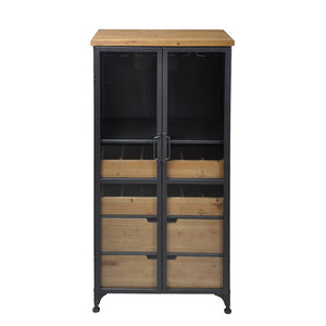 Taylor Tall Wine Cabinet - Wood,Gunmetal