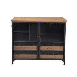 Taylor Low Wine Cabinet - Wood,Gunmetal