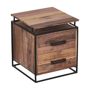 Nako 2 Drawer Bedside-Indoor Furniture-Kleo-Default-Reclaimed Boat Wood/Coated Iron-SLH AU