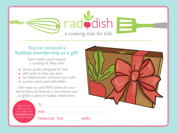 Raddish Gift Note