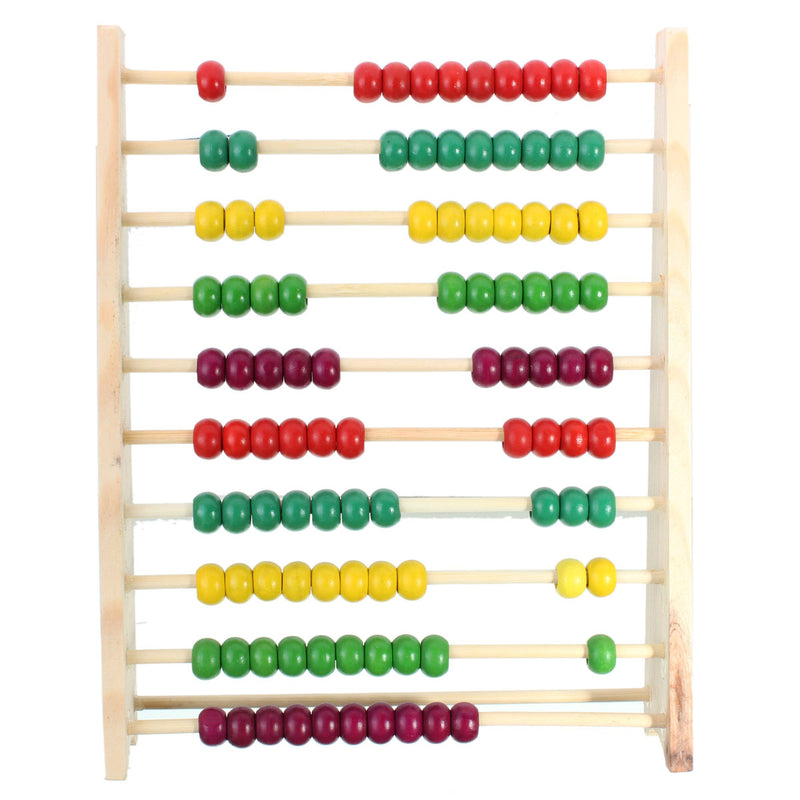 100 Beads Wooden Abacus Counting Number Preschool Kid Math Learning Teaching Toys