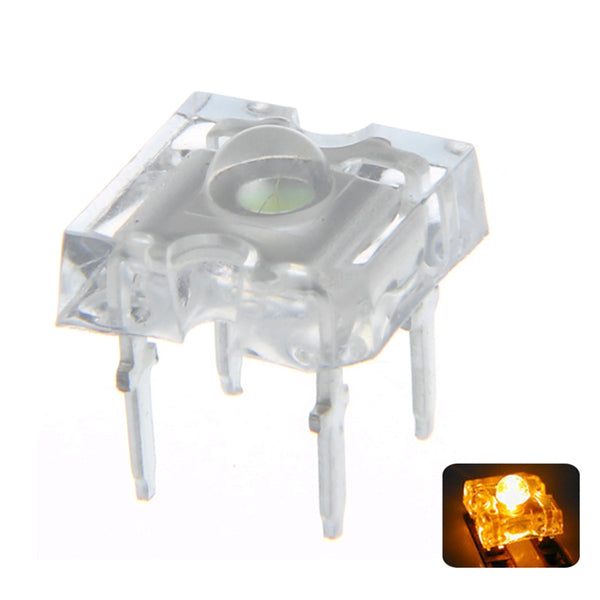 100PCS 3MM 4PIN Yellow Transparent 2V Round Top Light Emitting LED Diode DIY Lamp