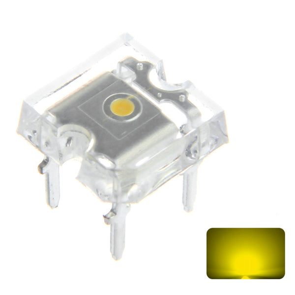 100PCS 2V 20mA 3MM 4PIN Yellow Transparent Flat Top Square Light Emitting LED Diode DIY Lamp