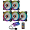Coolmoon 5PCS 120mm RGB Adjustable LED Cooling Fan Multiple Thin Apertures CPU Cooling Fan with the Remote Control