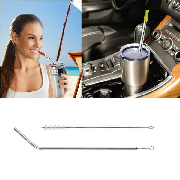 10Pcs/set Stainless Steel Drinking Straw Reusable Sucker Tube With Clean Brush Storage Bag