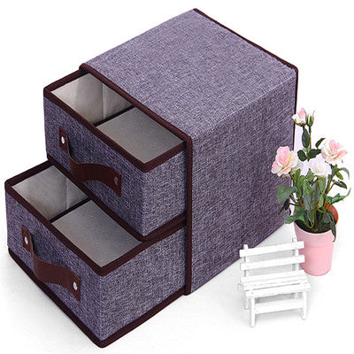 Cotton and hemp non-woven Desktop Organizer  two-layer two extraction storage box 2017 new storage box cosmetics storage box Any color delivery