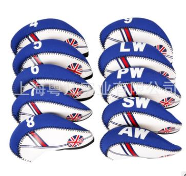 10Pcs/set Golf Club Iron Head Cover Neoprene National Flag Headcover