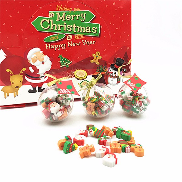 Creative Crystal Ball Shape Christmas Eraser Mini Eraser for School Stationery Home Gift