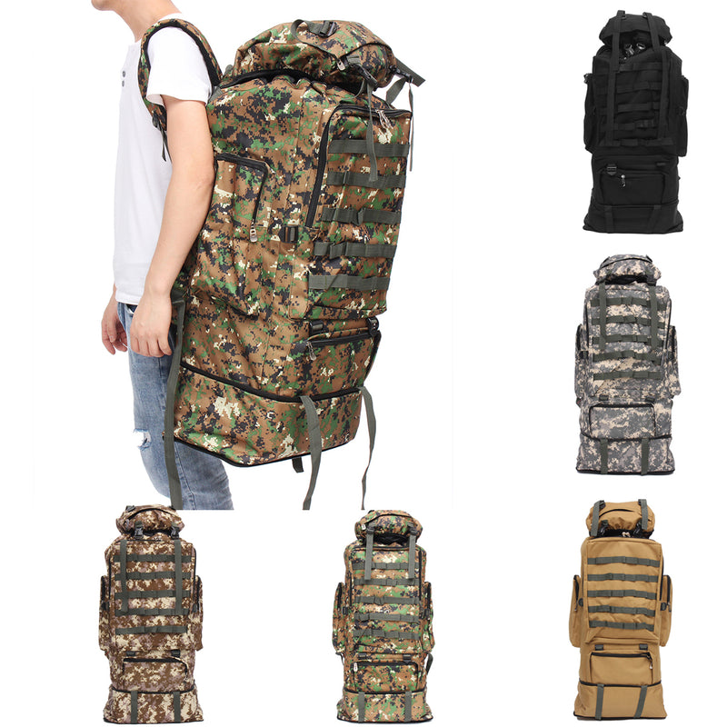 100L Oxford Waterproof Backpack Mountaineering Bag Camouflage Outdoor Travel Bag