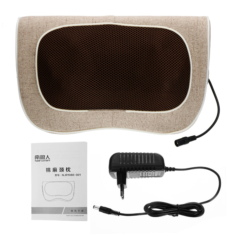 100-240V 3 Speed Back Neck Massager 20 Heads Massage Pillow Heat Deep Tissue Kneading Massager for Cervical Shoulder Waist Muscle Pain Relief Car Home Office Use