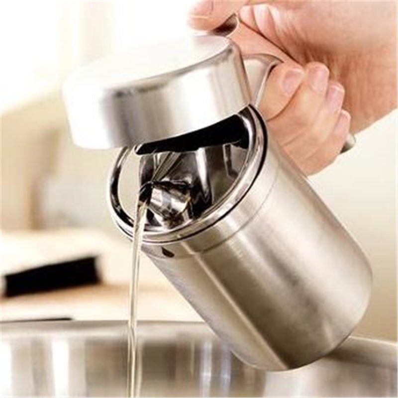 1000ml Leak Proof Oil Dispenser Stainless Steel Pourer Vinegar Cruet Kitchen Flavouring Tool Bottles
