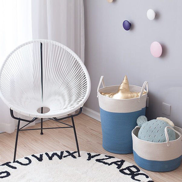 Cotton Rope Storage Basket Baby Laundry Basket Woven Baskets with Handle Bag