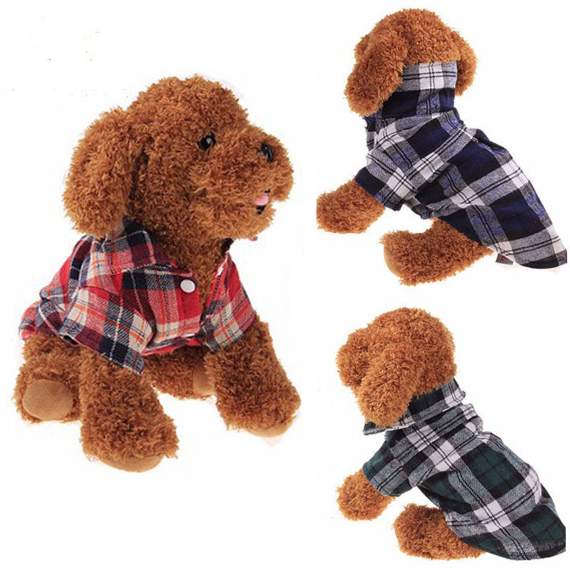 100% Cotton Pet Dog Plaid Stripe T-Shirt Puppy Vest Coats For Small Dog Clothes Classical Style