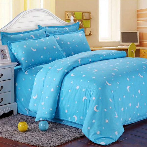 Cotton Blue Stars Moon Printing Bedding Set Bed Sheet Duvet Cover Pillowcase Single Queen King
