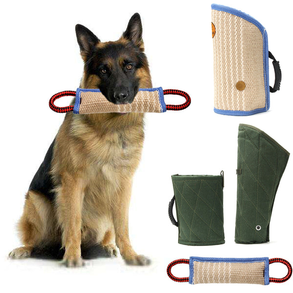 12'' Jute Training Bite Tugs Toy With 2 Handles For Schutzhund Police  Dogs Leash Harness Trainer Pet Toys