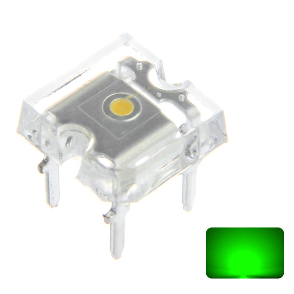 100PCS 20mA Green Transparent Emitting Lamp Flat Top LED Diode Hole Bulb DIY Lamp DC3V