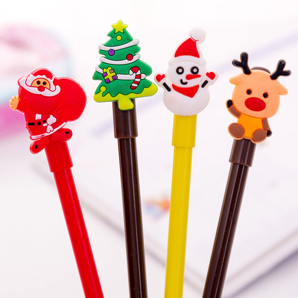 Creative Cartoon Christmas Series Gel Pen Students Writing Pen Black Ink Signing Pen Christmas Tree Santa Claus Stationery Supplies