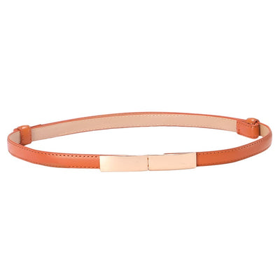 Thin Leather  Skinny Metal Gold Elastic Buckle Belt