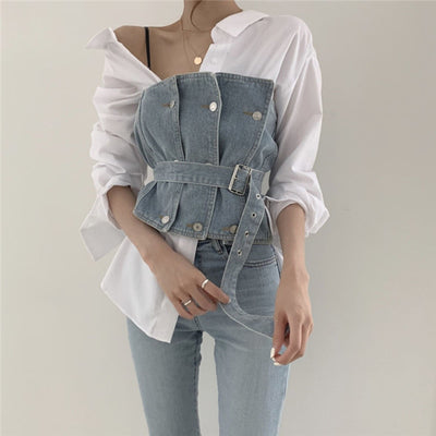 Denim Bow Top S-2XL
