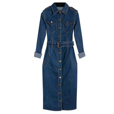 Casual Buttoned Denim Dress S-3XL