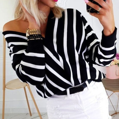 The Advantage Stripe  V Neck Sweater S-2XL