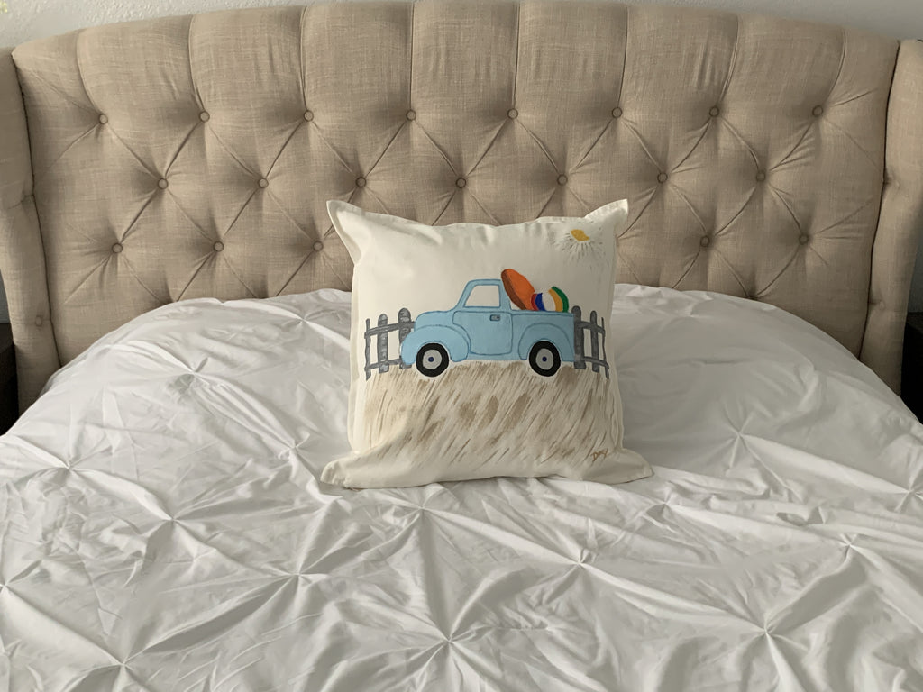 "Summer Truck Hand Painted Throw Pillow 20"" x 20"" - Designs By Daysi"
