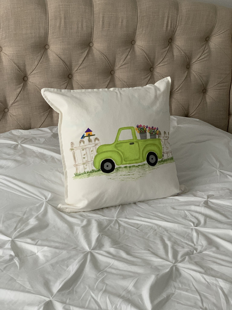 "Spring Truck Hand Painted Throw Pillow 20"" x 20"" - Designs By Daysi"