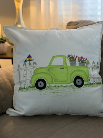 Spring Truck Hand Painted Throw Pillow 20