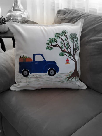 Fall Truck Hand Painted Throw Pillow 20