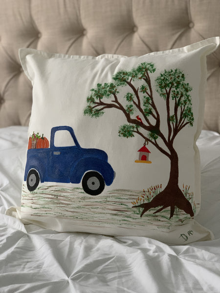 "Fall Truck Hand Painted Throw Pillow 20"" x 20"" - Designs By Daysi"