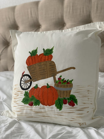 "Fall Pumpkin Wheelbarrow Hand Painted Throw Pillow 20"" x 20"" - Designs By Daysi"
