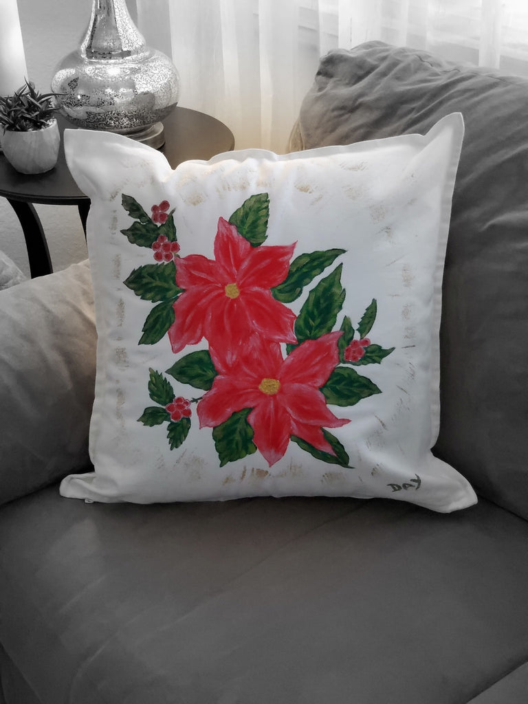 "Red Poinsettias Hand Painted Throw Pillow 20"" x 20"" - Designs By Daysi"