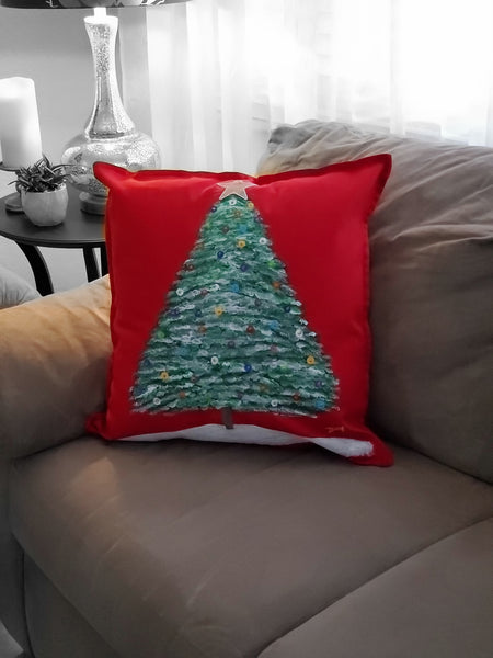 "Christmas Tree Hand Painted Throw Pillow 20"" x 20"" - Designs By Daysi"