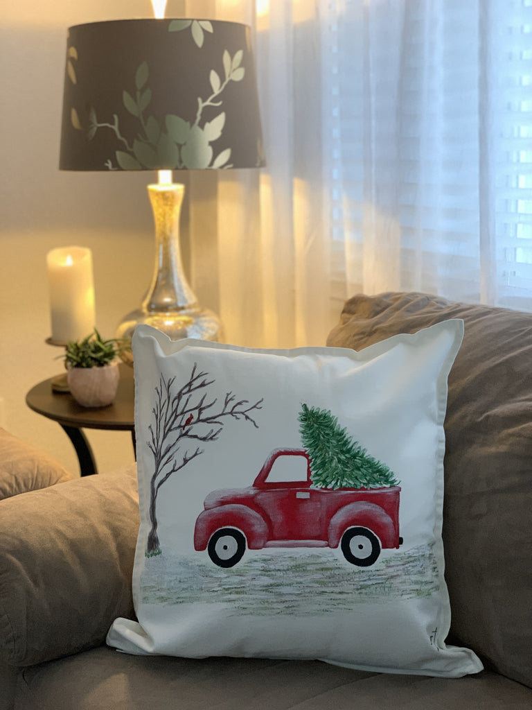 "Christmas Red Truck Hand Painted Throw Pillow 20"" x 20"" - Designs By Daysi"