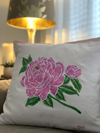 Pink Peony Hand Painted Throw Pillow 20